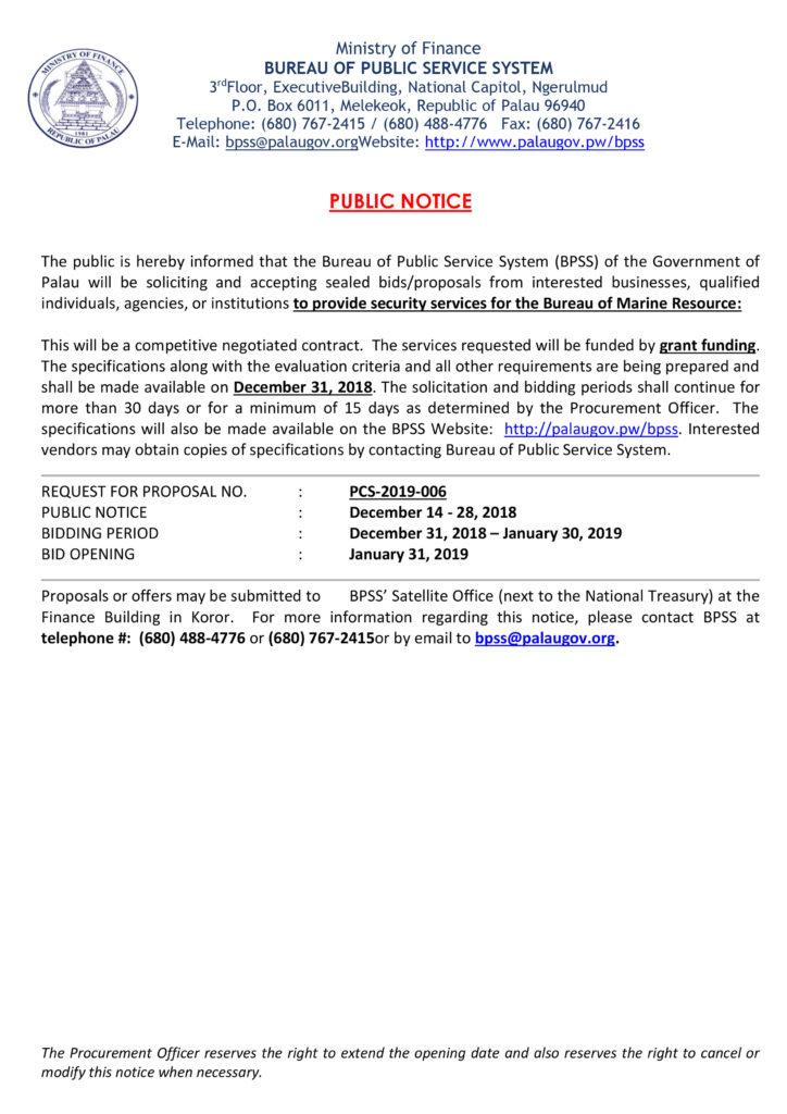 15 Day Public Notice - Bureau of Marine Resource