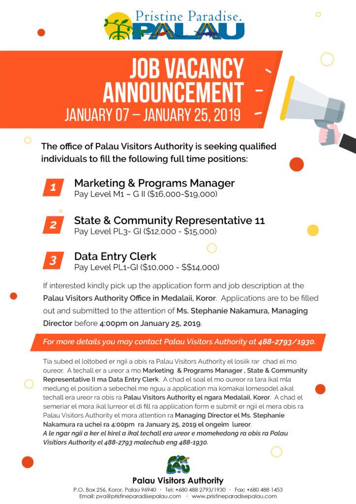 Palau Visitors Authority - Job Vacancy Announcement