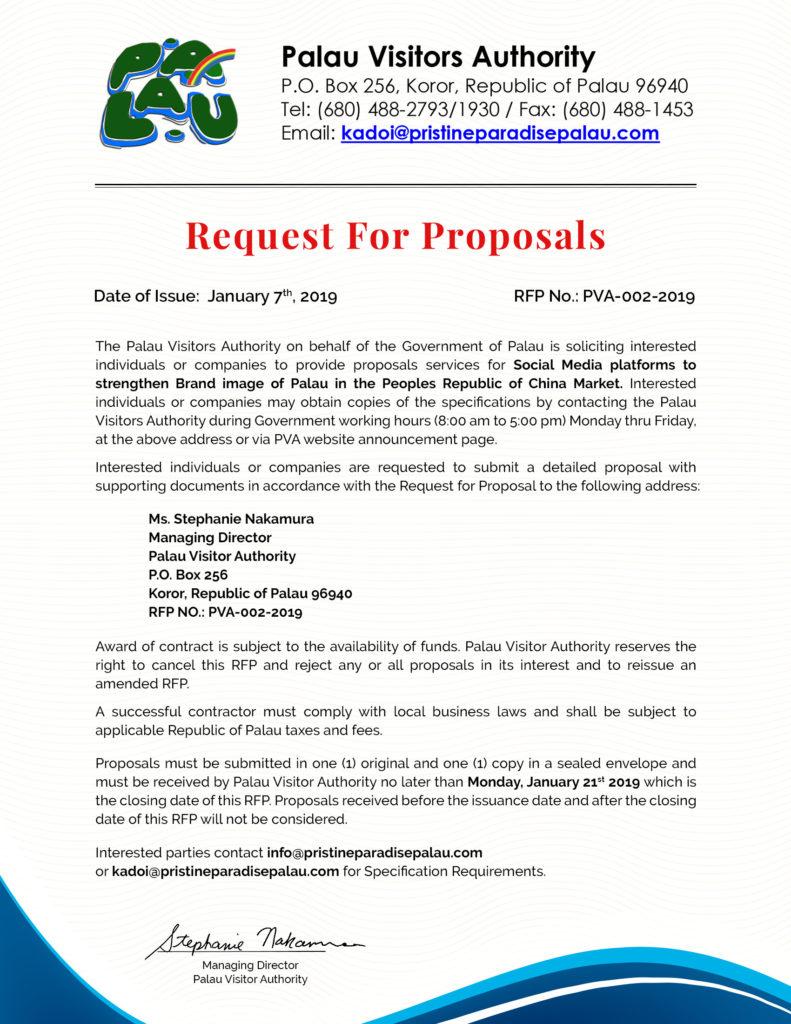 RFP - Social Media Platforms to strengthen Brand image of Palau in Republic of China Market