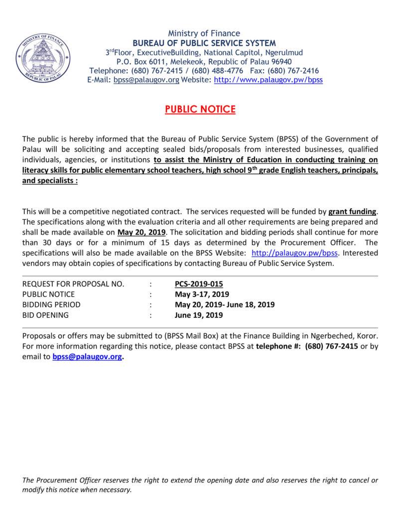 15 Day Public Notice (PCS-2019-015)MOE