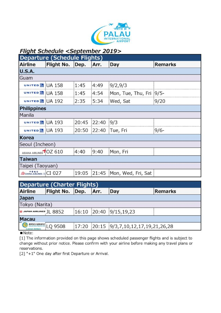 Palau International Airport - Flight Information September 2019